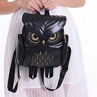 Рюкзак кожаный женский Сова (черный), фото 1
