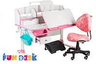 Растущая парта для школьника FunDesk Sognare Pink + детское кресло SST5 Pink