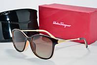 Солнцезащитные очки Ferragamo Polaroid коричневые с бежевым