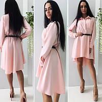 Женское розовое  платье с пояском, длинный рукав. Арт-9965/71
