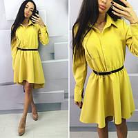 Женское желтое  платье с пояском, длинный рукав. Арт-9965/71