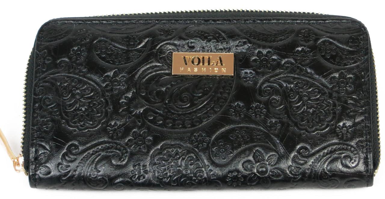 Красивый женский кожаный кошелек VOILA Wall 0038 чер цветы черный