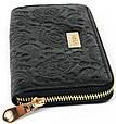 Красивый женский кожаный кошелек VOILA Wall 0038 чер цветы черный, фото 2