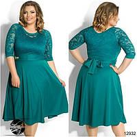 Вечернее платье бирюзового цвета с гипюром. Модель 12932. Размеры укр 50-56.