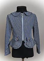 Пиджак детский, нарядный, с рюшей, трикотажный
