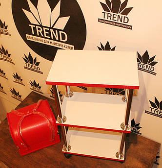 Тележка для мастера красоты, этажерка белая с красной кромкой, фото 2