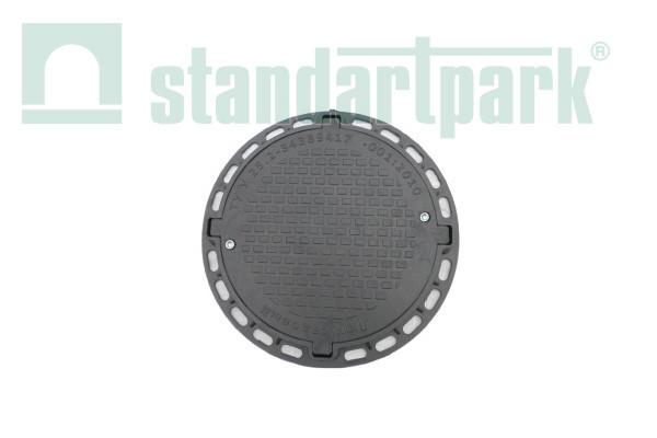 Люк полимерпесчаный Л, черный 1,5 т (А15 легкий) с запорным устройством