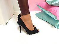 Туфли лодочки с открытым носком Замш черные - Распродажа