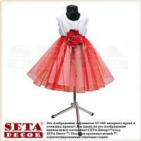 Платье нарядное для девочки белое с красной юбкой и розой на выпускной