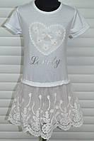 Летнее трикотажное платье с пышной ажурной шифоновой  юбкой.Размеры 3-8,Фирма S&D.Венгрия