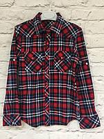 Рубашка в красную клетку для девочек 6-14 лет