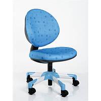 Кресло метал белый / обивка голубая в квадратики MEALUX Y-120 BS