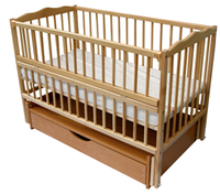 Детская кроватка Веселка шарнир/ящик откидной бортик