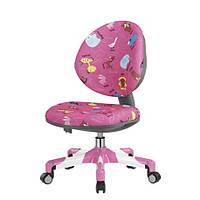 Кресло метал белый / обивка розовая со зверятами Mealux Vena Y-120 PN