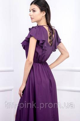 Сукня рюші максі резинка на талії креп-шифон фіолет
