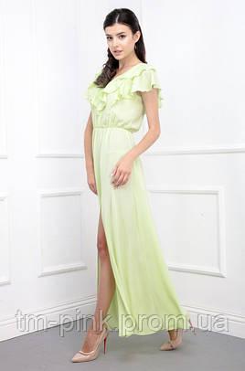 Сукня рюші максі резинка на талії креп-шифон лимон