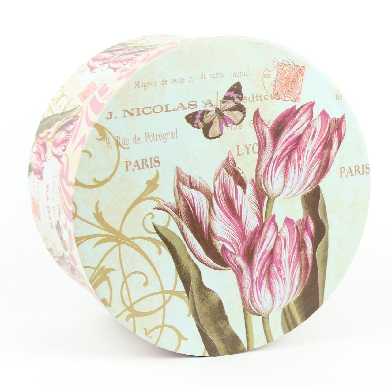 Подарочная коробочка с тюльпанами круглая 14 x 14 x 7.5 см