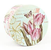 Подарочная коробочка с тюльпанами круглая 14 x 14 x 7.5 см, фото 1
