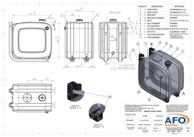 Алюминиевый бак бокового крепления 62х67х50