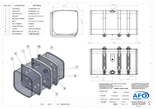 Алюминиевый топливный закабинный бак 67х70х130