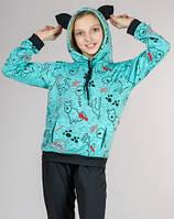 Детский спортивный костюм для девочки с УШКАМИ Китти трикотажный Турция