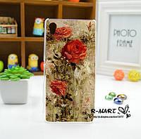 Силиконовый бампер для Sony Xperia M4 Aqua E2333 с рисунком розы красками картина