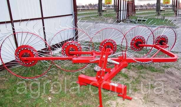 Грабли-ворошилки на квадратной раме к трактору - 5 колес