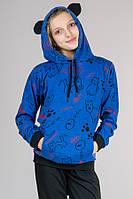 Синий детский спортивный костюм для девочки с УШКАМИ Китти трикотажный Турция