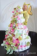 Торт из памперсов с пупсом бабочкой  Анны Геддес 80 штук