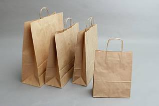 Бумажные крафт-пакеты с ручками бурого цвета