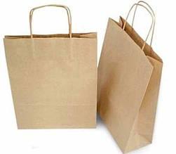 Бумажные крафт-пакеты с ручками бурые 150х80х240