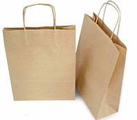 Бумажные крафт-пакеты с ручками бурые 190х110х280