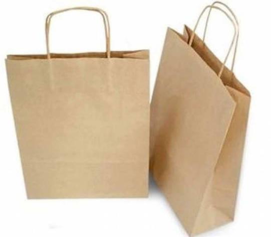 Бумажные крафт-пакеты с ручками бурые 250х150х350, фото 2