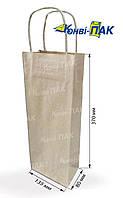 Пакет с кручеными ручками под бутылку 370х135х80 (Бурый крафт)
