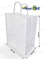Пакет с кручеными ручками 335х260х140 (Белый крафт)