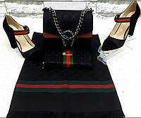 Женский стильный Набор Сумка, Туфли, кошелк и палантин в полоску #5 Можно отдельно