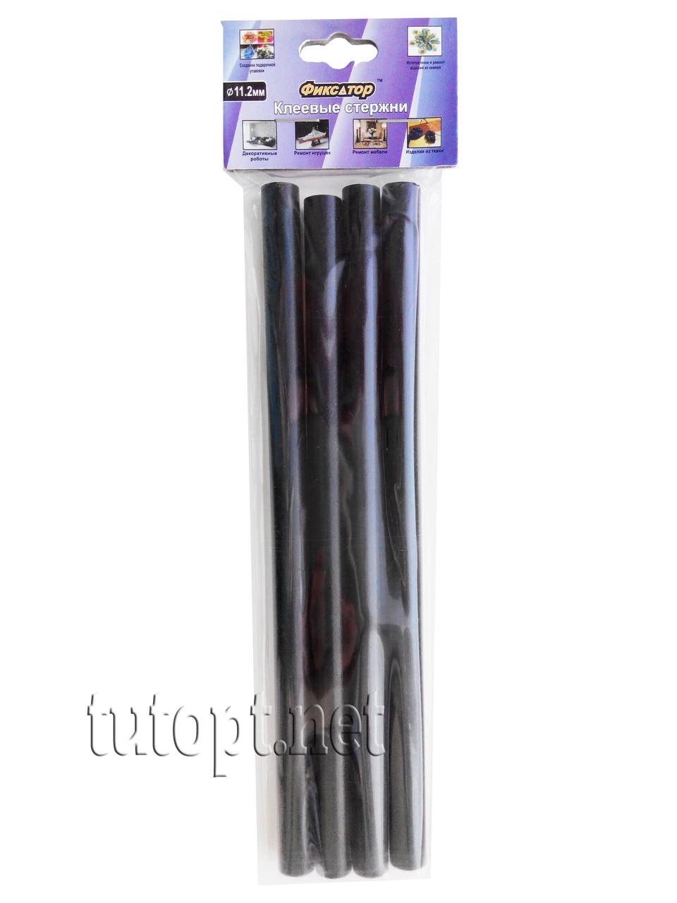 Клеевые стержни Фиксатор,черные, толстые 4шт. в уп. 11,2мм.