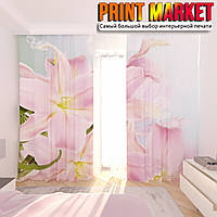 Фотошторы 3д розовые цветы