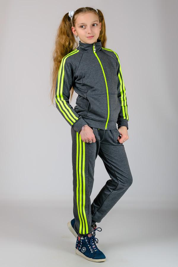 Подростковый спортивный костюм серый с лампасами для девочек трикотажный Турция - Интернет магазин Sport-sila.com.ua в Вышгороде