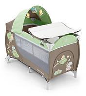 Манеж-кровать Cam Daily Plus Зеленый со зверятами (L113-C225)