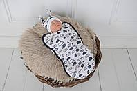 Европеленка кокон на молнии + шапочка 0-3 мес