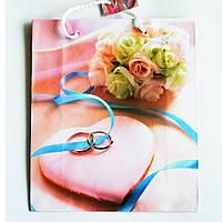 Подарочный пакет СРЕДНИЙ КВАДРАТ 21х25х8см  Свадебный букет и кольца