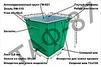 Контейнер для сміття ТПВ 0,75 м. куб. метал 2,0 мм сталь, фото 1