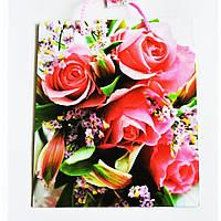 Подарочный пакет СРЕДНИЙ КВАДРАТ 21х25х8см Букет роз