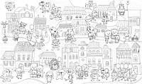 Игра раскраска Сказочный город с животными