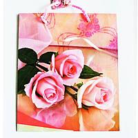 Подарочный пакет СРЕДНИЙ КВАДРАТ 21х25х8см Розовые розочки