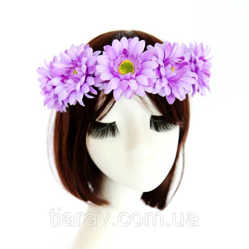 Венок на голову из цветов фиолетовый Лили Тиара Виктория веночек для волос