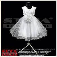 Белое нарядное пышное платье для девочки из атласа и фатина на выпускной