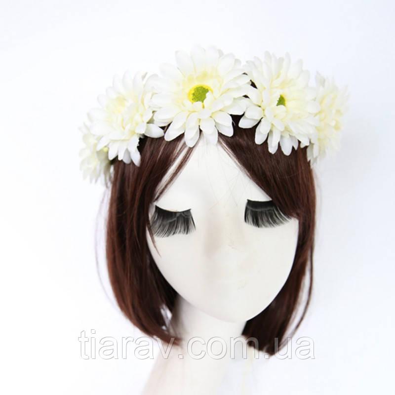 Віночок на голову з квітів білий Лілі вінок весільний квіти