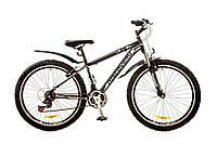 "Велосипед 26"" Discovery TREK AM 14G Vbr рама-15"" St черно-серо-белый (м) с крылом Pl 2017"